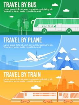 Set di banner di intestazione offri autobus, treno, viaggio in aereo