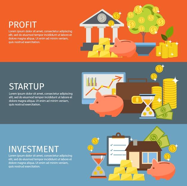 Set di banner di investimento