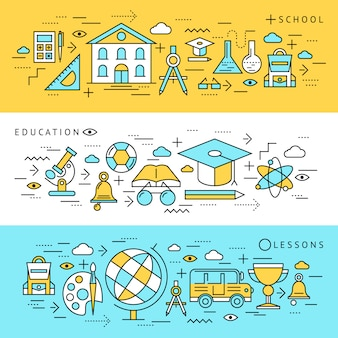 Set di banner di istruzione scolastica