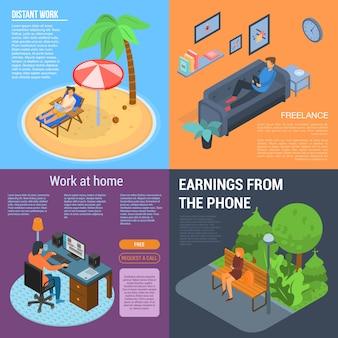 Set di banner di lavoro distante. insieme isometrico dell'insegna di vettore del lavoro distante per web design