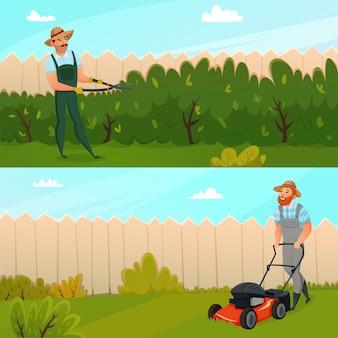 Set di banner di lavoro giardinaggio