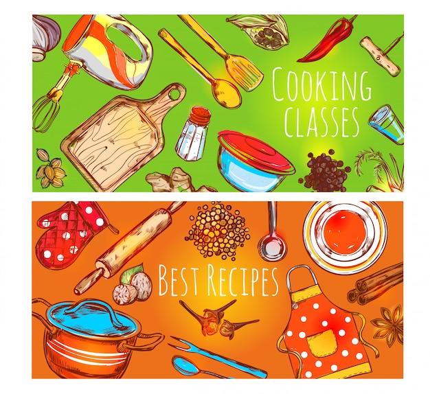 Set di banner di lezioni di cucina