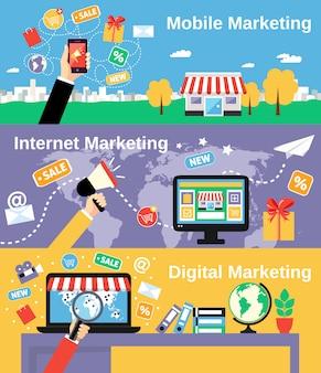 Set di banner di linea di marketing