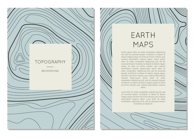 Set di banner di linea topografia mappa contorno