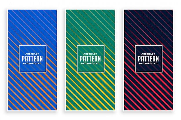 Set di banner di linee diagonali