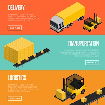Set di banner di logistica e trasporto di consegna