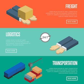 Set di banner di logistica e trasporto merci