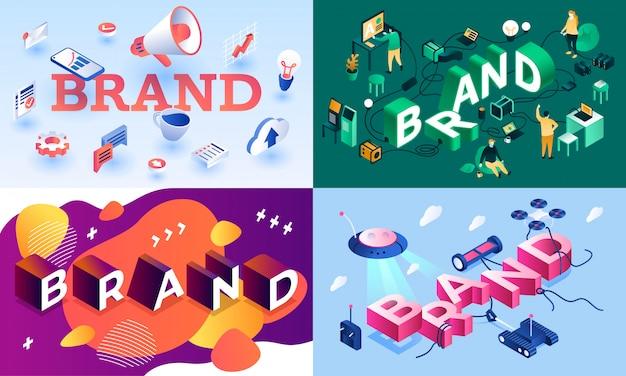 Set di banner di marca. insieme isometrico dell'insegna di vettore di marca per web design
