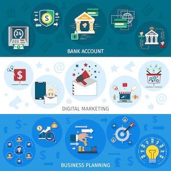 Set di banner di marketing bancario