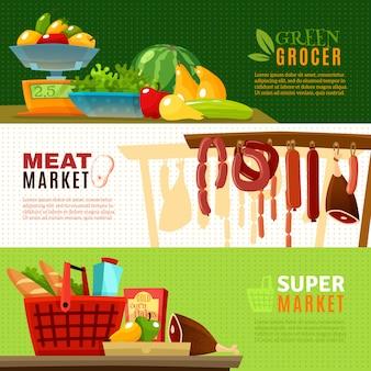 Set di banner di mercato