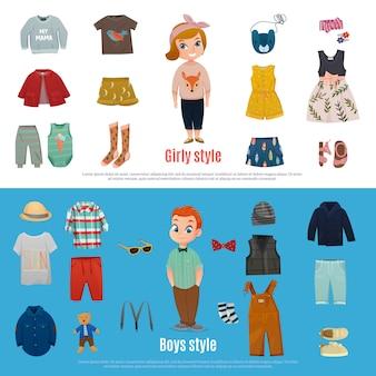 Set di banner di moda bambino