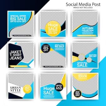 Set di banner di moda instagram blu