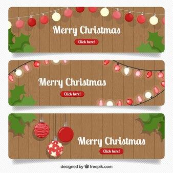 Set di banner di natale con fondo in legno