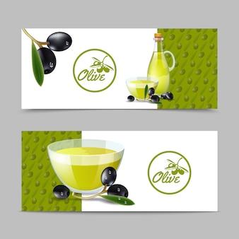 Set di banner di olio d'oliva