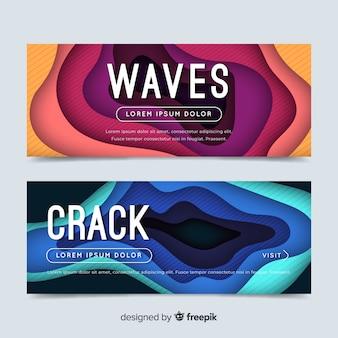 Set di banner di onde di carta astratta