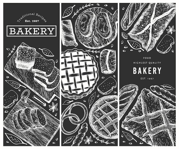 Set di banner di pane e dolci disegnati a mano