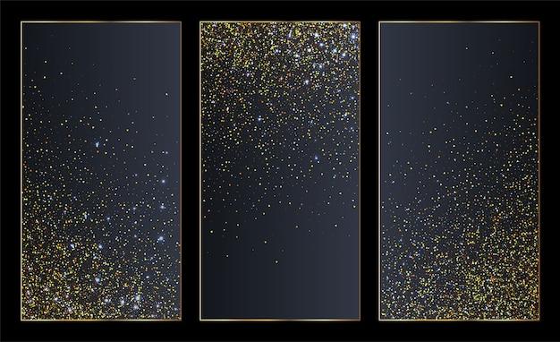Set di banner di particelle scintillanti dorate o modelli di social media.