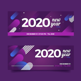 Set di banner di partito design piatto nuovo anno 2020