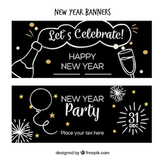 Set di banner di partito di nuovo anno semplice disegnato a mano