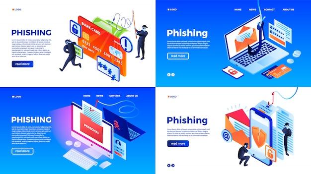 Set di banner di phishing. insieme isometrico dell'insegna di vettore di phishing per il web design
