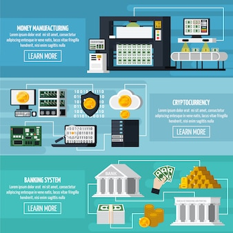 Set di banner di produzione di denaro