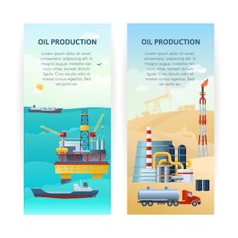 Set di banner di produzione di petrolio