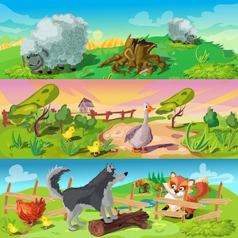 Set di banner di scene di fattoria
