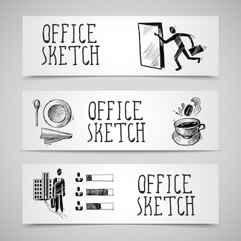 Set di banner di schizzo di office