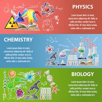 Set di banner di scienza