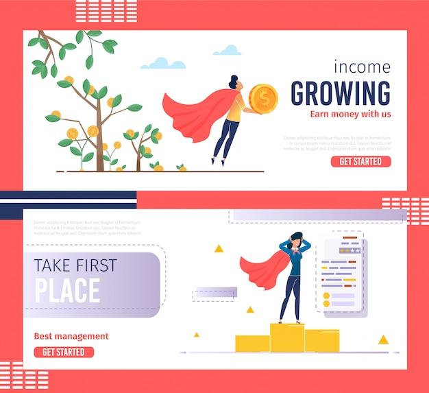 Set di banner di servizi per la gestione aziendale