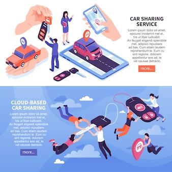 Set di banner di servizio di car sharing basato su cloud