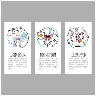 Set di banner di servizio di giustizia e avvocato. corte e legge. illustrazione di cartone animato