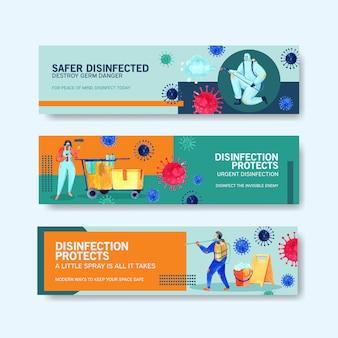 Set di banner di sicurezza di coronavirus
