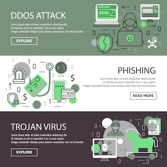 Set di banner di sicurezza internet