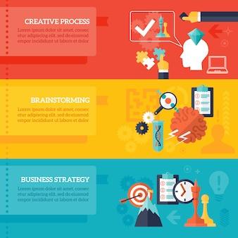 Set di banner di strategia aziendale
