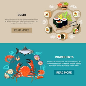 Set di banner di sushi