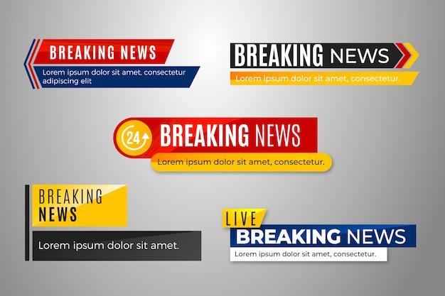 Set di banner di ultime notizie