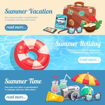 Set di banner di vacanze estive