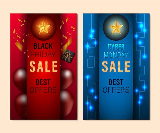 Set di banner di vendita black friday e cyber monday