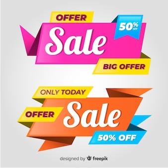 Set di banner di vendita colorato. grande sconto vendita offerta