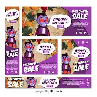 Set di banner di vendita di halloween