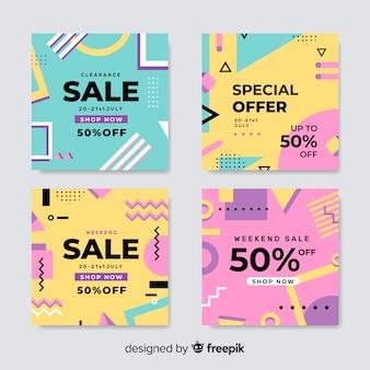 Set di banner di vendita di memphis