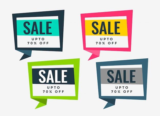 Set di banner di vendita di molti colori