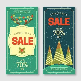 Set di banner di vendita di natale design piatto