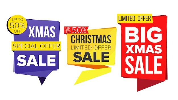 Set di banner di vendita di natale.