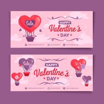 Set di banner di vendita di san valentino disegnati a mano