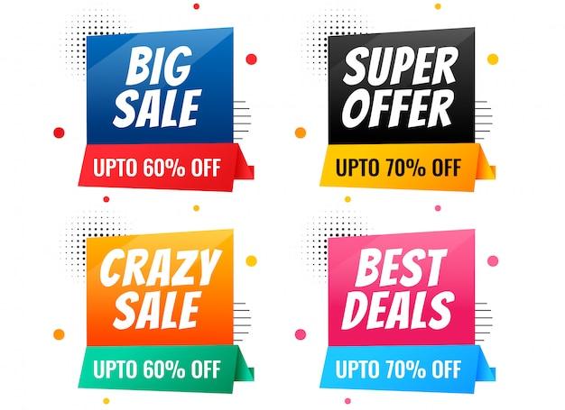 Set di banner di vendita e sconto stile memphis