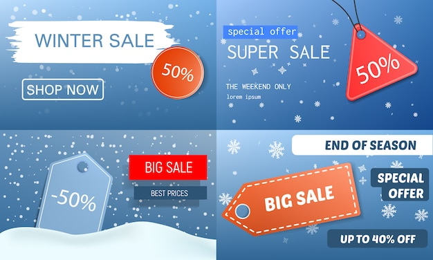 Set di banner di vendita finale invernale. l'illustrazione realistica dell'insegna di vettore di vendita finale dell'inverno ha messo per web design