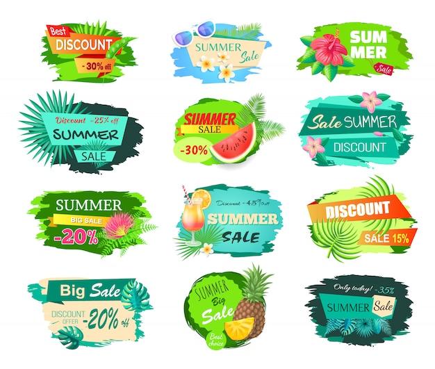 Set di banner di vendita grande estate
