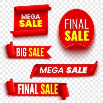 Set di banner di vendita rosso su sfondo trasparente. nastri e adesivo. rotoli di carta. illustrazione.
